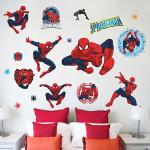 Spider man kids room decor boy gift wall sticker wall decals wallpaper