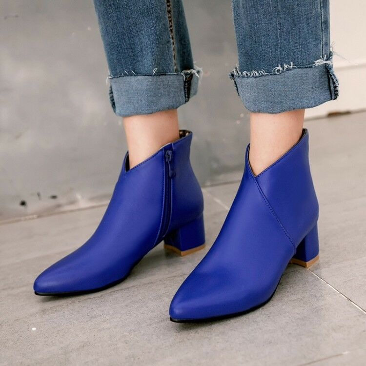 Women's Ankle Boots Pointy Toe High Block Heels Side Zipper Autumn Casual Shoes