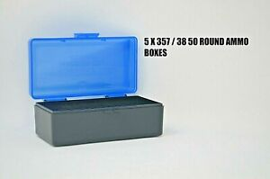 FREE SHIPPING BERRY/'S PLASTIC AMMO BOXES BLUE//BLACK 50 Round 38 // 357 10