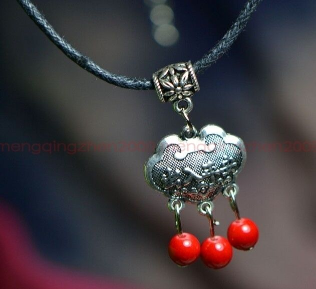 Original handmade Tibetan silver lucky lock red coral beads pendant necklace