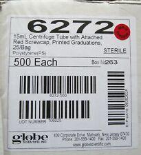 Case 500 15ml Polystyrene Graduated Centrifuge Tubes Amp Caps Sterile Globe 6272