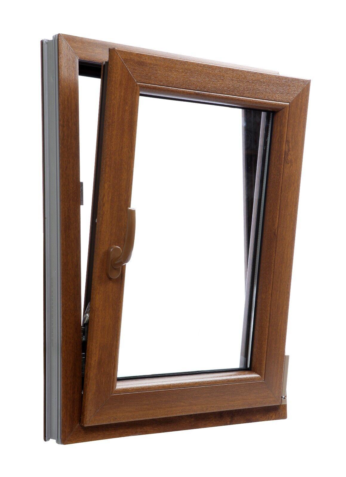 Fenêtre PVC Aluplast Ideal 4000 Chêne Doré bilateral un vantail oscillo-battant