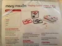 Mary Maxim Playing Card Coasters & Box Plastic Canvas Kit In Package