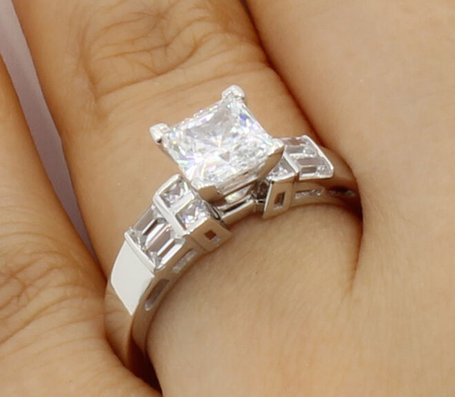 2.25Ct 14K White gold Cathedral Princess Cut Side Stones Engagement Wedding Ring