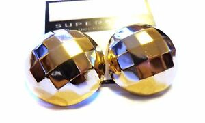 27b8e564e FACETED ROUND ROUND DOME EARRINGS SHINY GOLD OR SILVER TONE 1 INCH ...