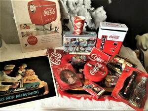Vintage-Coca-Cola-Collectibles-Lot-Signs-ads-cards-small-items-Old-and-new