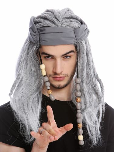 Wig Men Pirate Corsair Head Scarf Dreadlocks Long Wild Grey Old