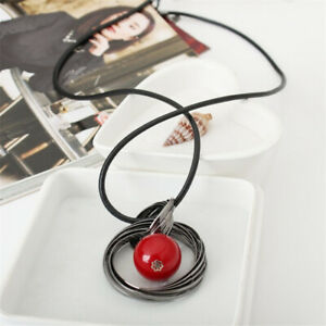 Women Circles Simulated Pearl Ball Pendant Long Sweater Necklace