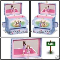 Blue Girls 3-drawer Fairy Tale Princess Box Jewelry Music Kid Vintage Organize