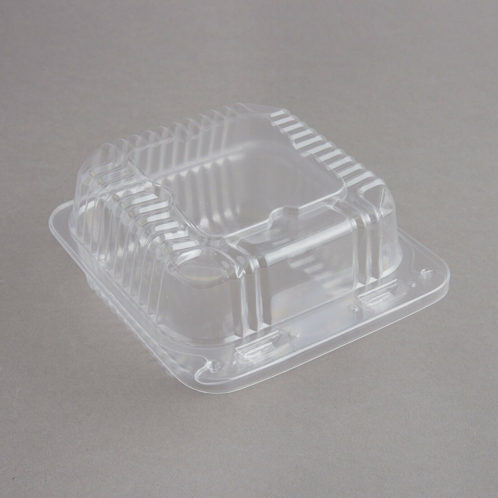 SafePro 8x8x3 Clear Hinged Lid Plastic Container, Polyethylene Terephthalate Square Cold Clamshell Container CASE OF 250