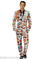 Mens Teen Funky Comic Strip Stand Out Suit Stag Festival Fancy Dress Fun Fashion