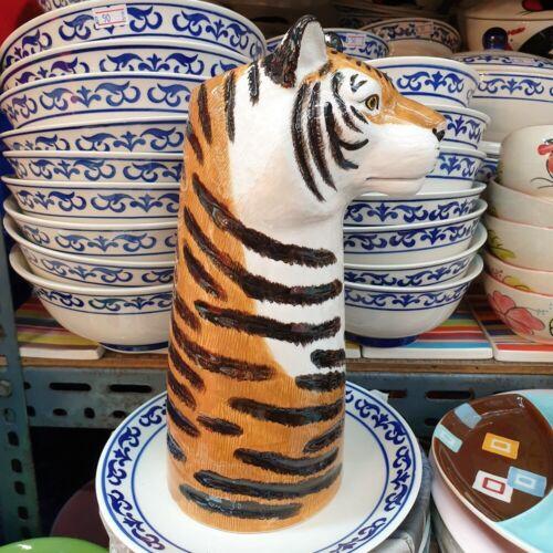 Tall Flower Vase Pot Ceramic Big Tiger Head Figurine Succulent Plant Home Decor