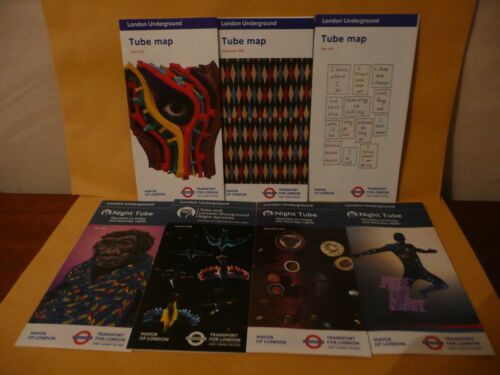 RARE London Underground Pocket Tube /& Night Tube Maps x7