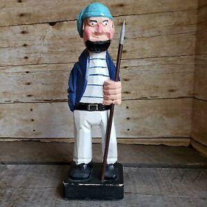 80s-Vintage-Hand-Carved-Painted-Sailor-Wood-Statue-Captain-Figure-Nautical-Decor