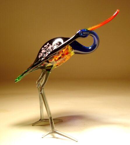 "Blown Glass /""Murano/"" Art Figurine Gorgeous Blue and Red HERON Bird"