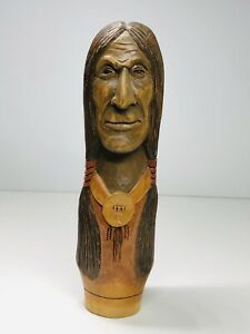 Vintage-Carved-Wooden-Native-American-Indian-Head-With-Pigtails-8-5-Inch-Tall