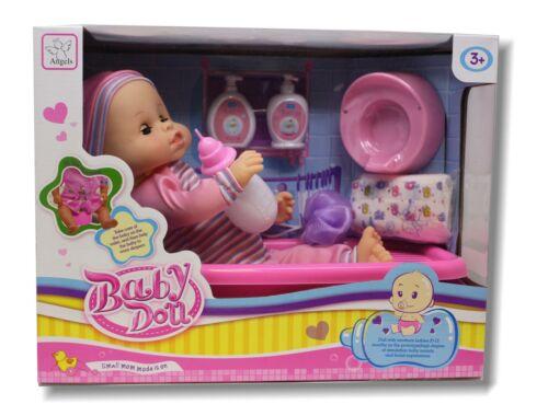 """16/"""" nouveau né réaliste Vinyl baby doll Baignoire et accessoires semblant Playset"""