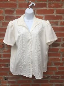 4711a7a0 Image is loading Vintage-80s-Cream-Off-White-Embroidered-Eyelet-Blouse-