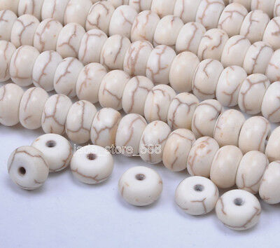 100pcs WHITE Turquoise charm loose Spacer Beads Jewelry Findings 5x8mm JA705