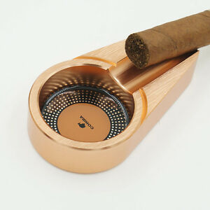 COHIBA Rose Gold Small Size Titanium Alloy Metal Cigar Ashtray Stand