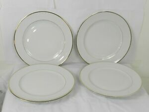 """6 Sonnet Dinner Plates 10-1/4"""" Fine China Japan White with Gold Trim"""