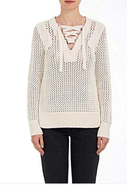 New $395 Derek Lam 10 Crosby Lace Up Cotton Sweater Size MediumBeige