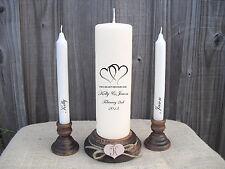 Personalised Hearts Wedding Unity Candle Set Gift Keepsake