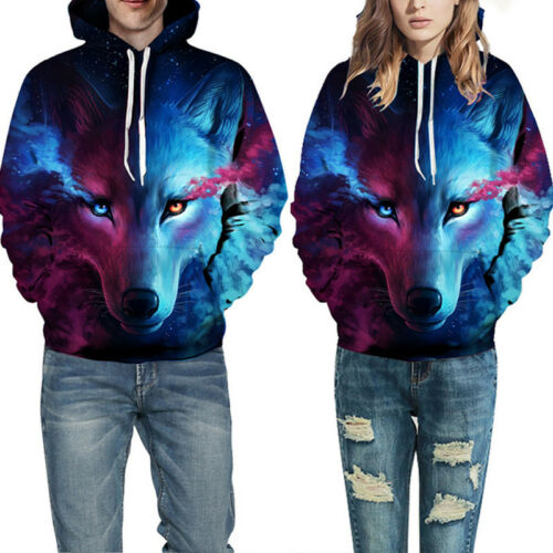 Women Mens Animal 3D Graphic Print Hoodie Sweater Casual Sweatshirt Pullover Top