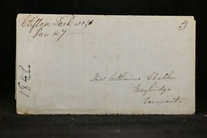 New-York-Clifton-Park-1849-Stampless-Cover-Ms-amp-5c-Rate-Saratoga-Co