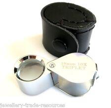 Cromo Joyeros Magnifier Loupe Gafas triplete 18mm 10x Lente De Aumento