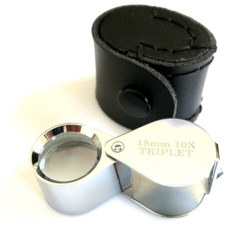 CHROME JEWELLERS MAGNIFIER LOUPE EYEGLASS TRIPLET 18mm 10x LENS MAGNIFYING
