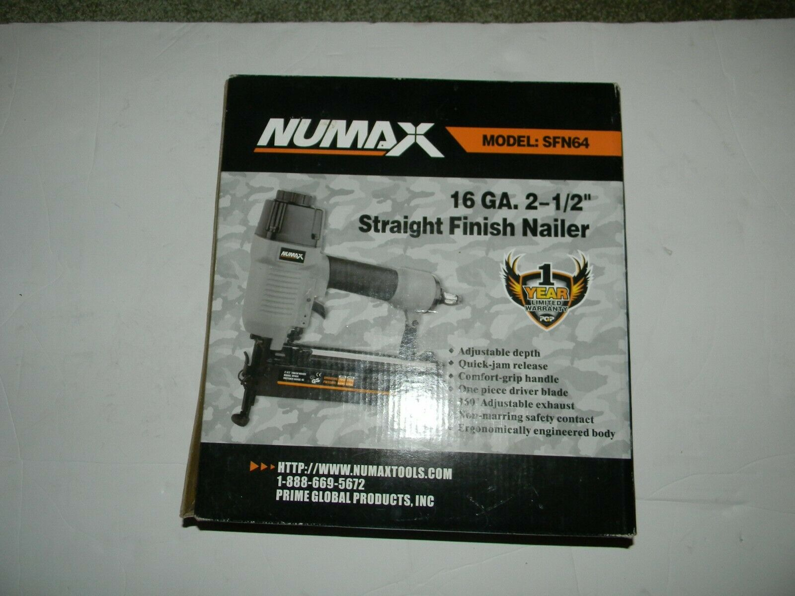 New New Numax #SFN64 Finish Nailer Gun Pneumatic 2-1/2 in. 16-Gauge Straight .