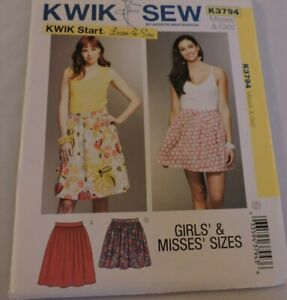 Kwik-Sew-Pattern-K3794-Learn-to-Sew-Pull-on-Easy-Skirt-Misses-Girls-Waist-22-36