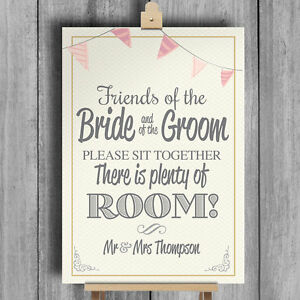 bunting personalised wedding sign no seating plan sit together