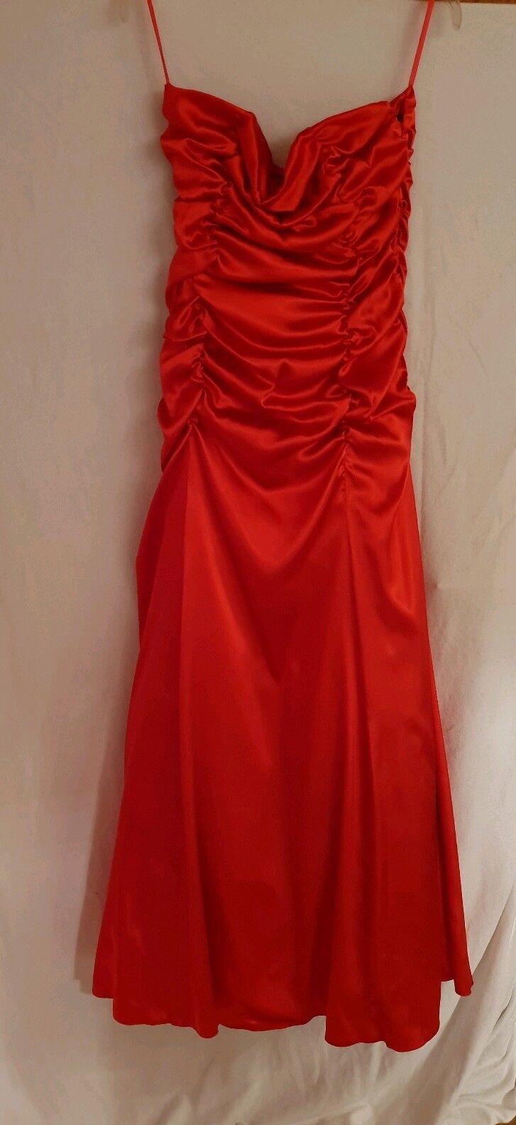 Ballkleid, Abendkleid mit Schal schulterfrei Rot Gr. 40 42