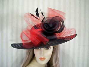Image is loading Kentucky-Derby-Hat-BlacK-Red-Easter-Hat-Wedding- e9f41e02bc9