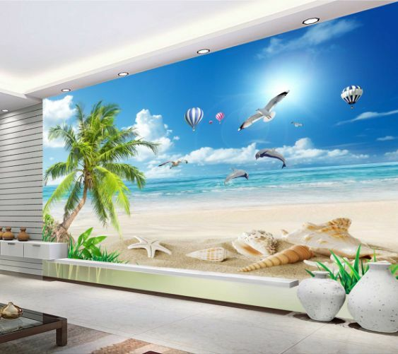 3D Blaue Seesterne Strand2 Fototapeten Wandbild Fototapete BildTapete Familie DE