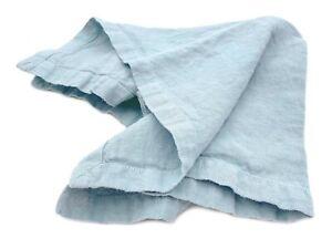 Stoff-Servietten-Set-mit-Briefecken-50x50-cm-100-Leinen-034-Stonewashed-034-Blau