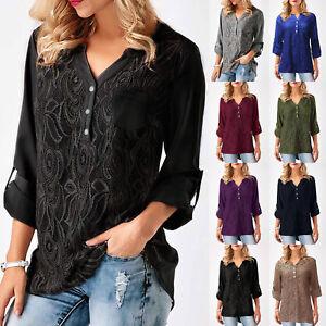 5c6c4729cd683 Das Bild wird geladen Damen-Spitze-Chiffon-Bluse-Tops-T-Shirts-Knopf-