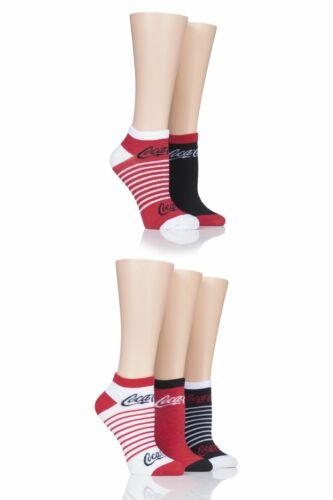 Ladies 5 Pair Coca Cola Shoe Liner Socks
