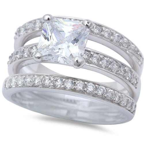 2.5CT PRINCESS /& ROUND CZ WEDDING SET .925 Sterling Silver Ring SIZES 5-10