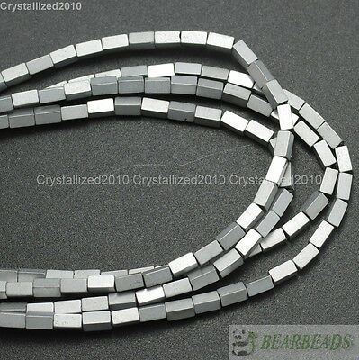 Hematite Gemstone Rectangular Bar Beads 16'' Metallic Silver Gold Multi-Colored