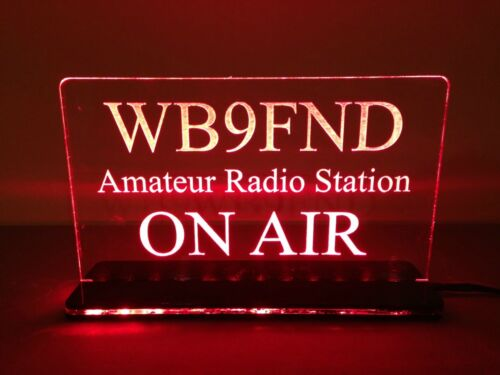 Four MultiColor 12v Custom Engraved LED Ham Shack Amateur Radio Call Sign Plaque