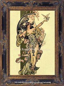 Art Deco Art Nouveau DANCER LADY GODDESS w/ DOVES Antique Vtg ...