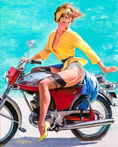 1950s Stocking Legs Motorcycle GIL ELVGREN 8x10 PIN-UP GIRL ART MINT PRINT