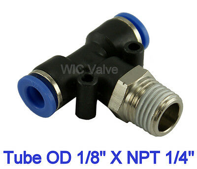 Pneumatic Branch Tee 3 Way Connector Tube OD 1/8 X NPT 1/4 Tube Fitting 5pcs