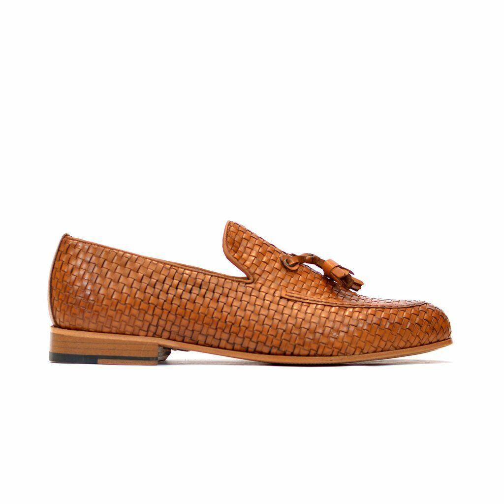 Hecho a mano para hombres Cuero Genuino tan Mocasines & Slip On Flecos Mocassins Zapatos