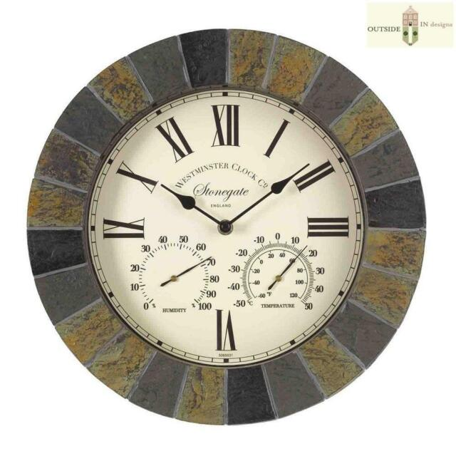 Outside In Designs Stonegate Wall Clock & Thermometer Dark Stone Effect 35cm 14""