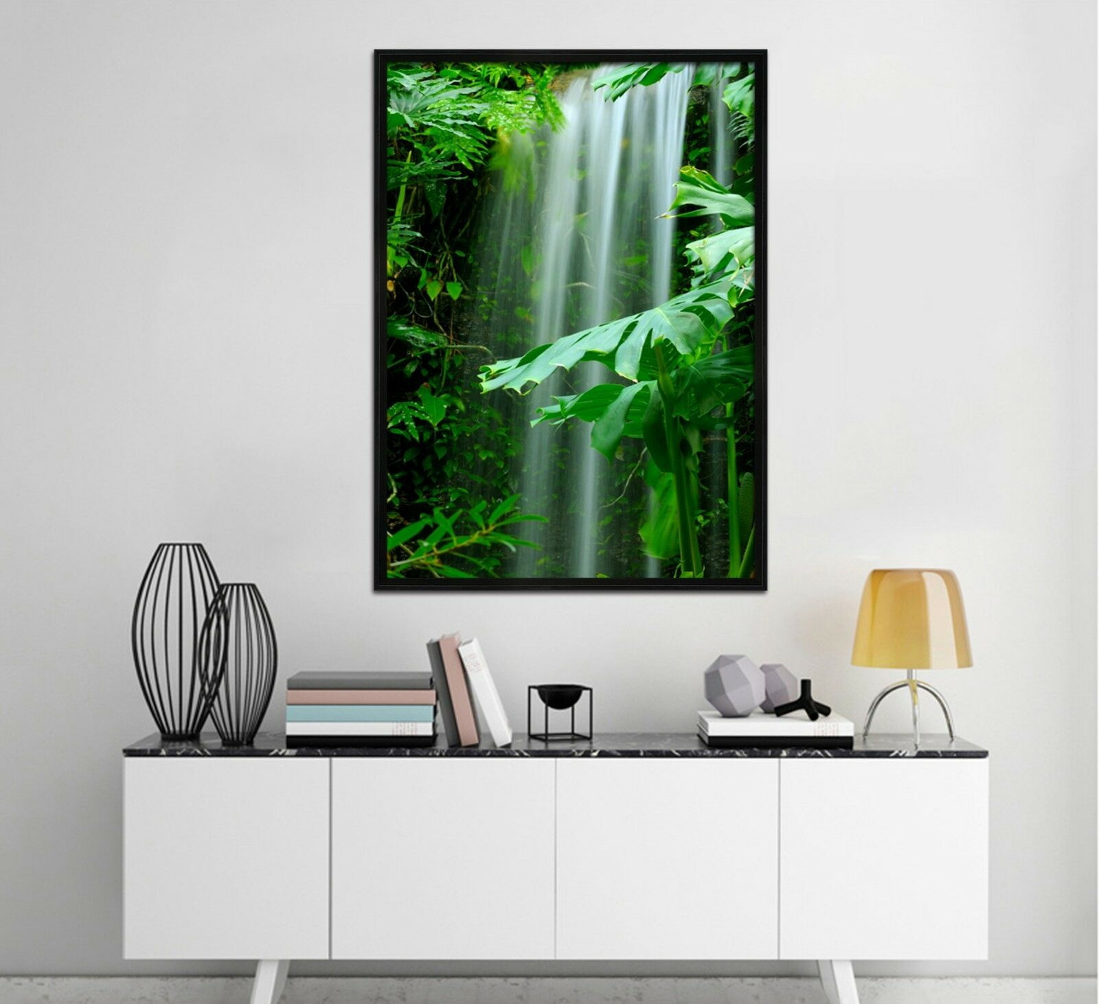 3D Jungle Waterfall 3 Framed Poster Home Decor Print Painting Art AJ WALLPAPER