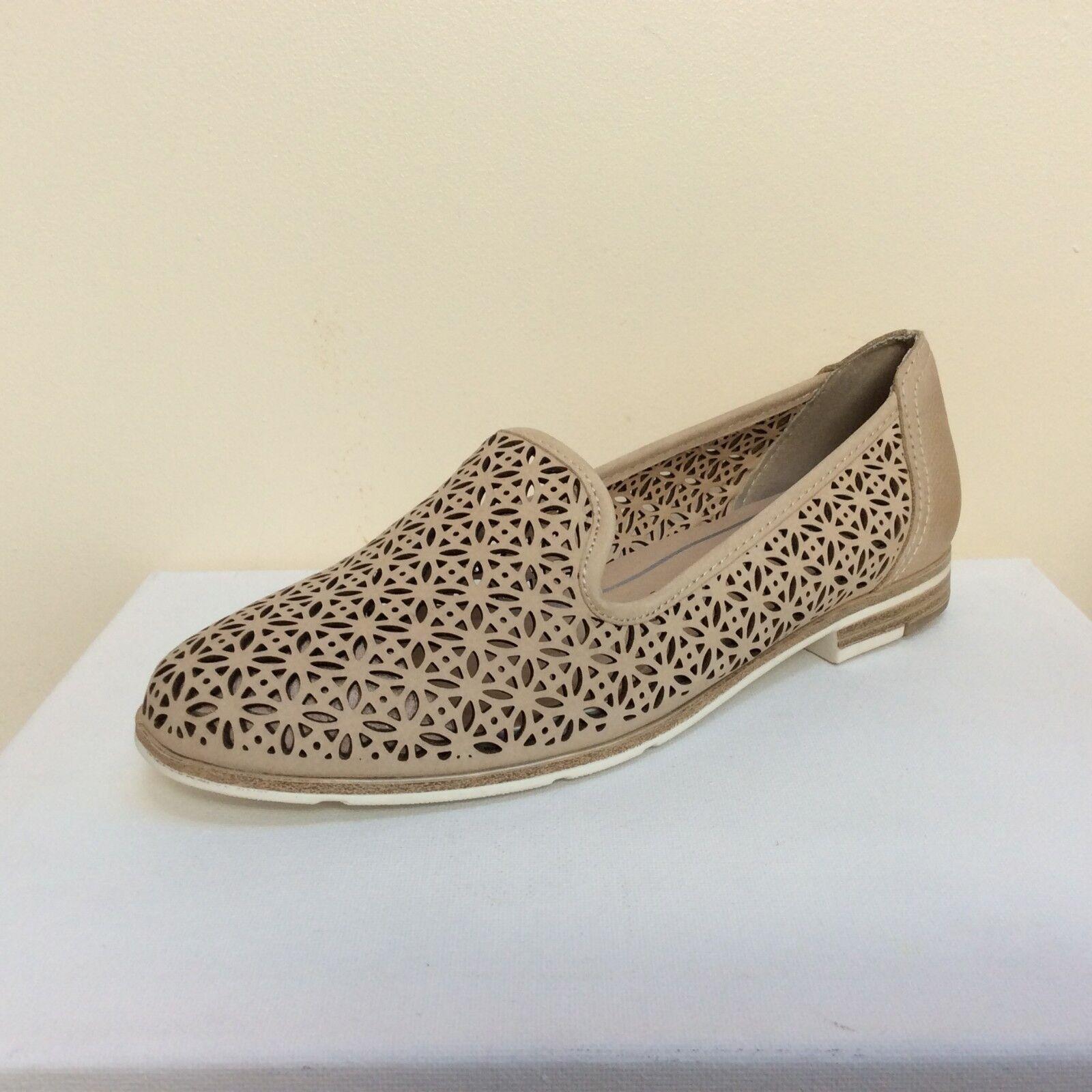 Marco Tozzi Beige Mocassin Style laser cut leather flats, UK 6    UE 39, BNWB